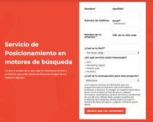 Landing page con formulario